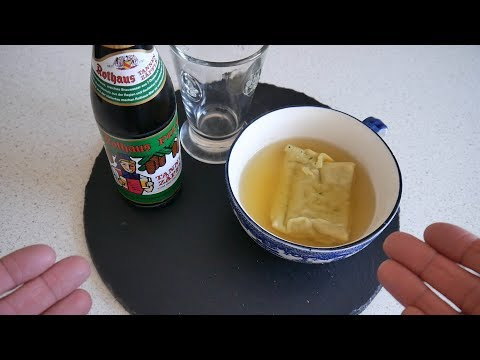 German Food Taste Test | Maultaschensuppe (dumpling soup) & Tannenzäpfle (beer) | Food & Drink