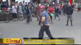 Chimbote: ambulantes agreden a serenos durante desalojo en mercado