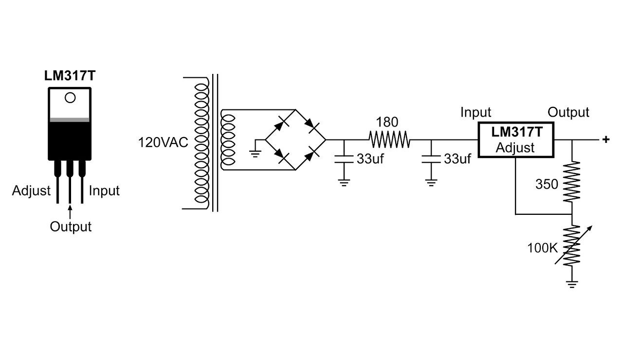 lm317 adjustable voltage regulator schematic
