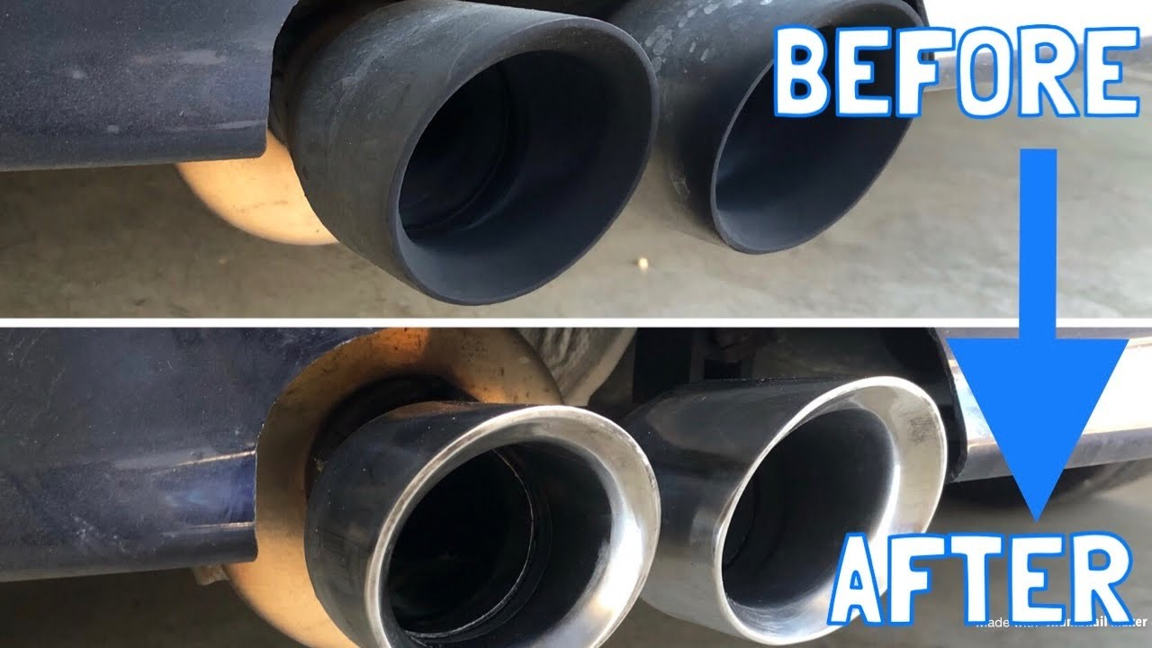 how to clean dirty exhaust tips in 5 minutes
