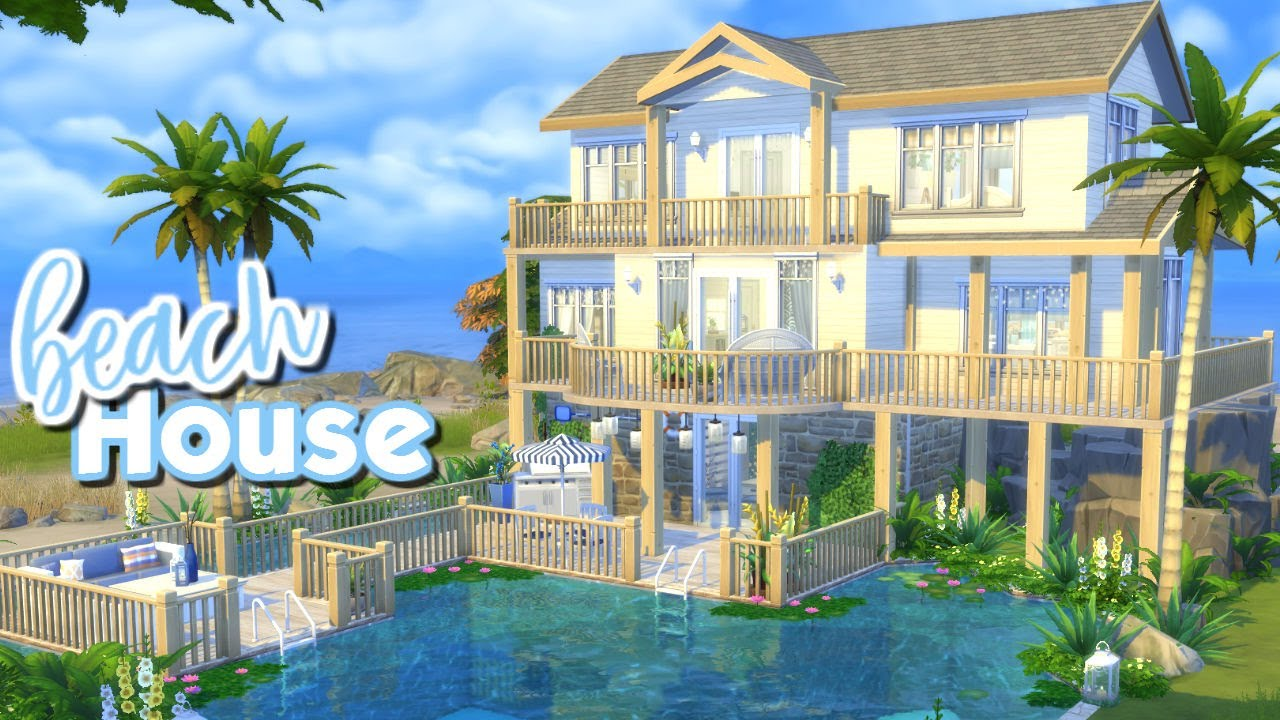 The sims 4 speed build beach house youtube for How to build a beach house