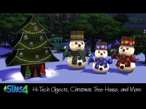 The Sims 4 CC: Hi-Tech Objects, Christmas Tree House & More - YouTube