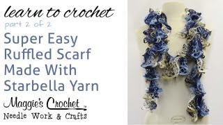 Crochet Ruffled Scarf Super Easy - Starb...