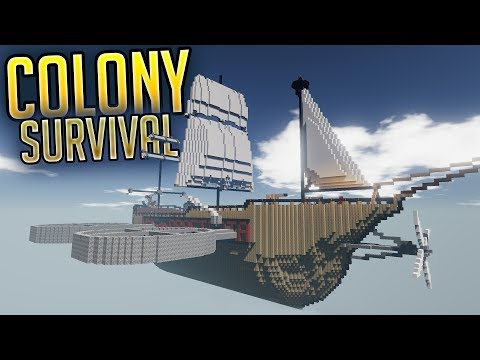 Colony Survival - H.M.S Draetopia Giant Flying Ship - Colony Improvements - Colony Survival Gameplay