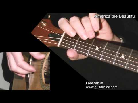 AMERICA THE BEAUTIFUL: Easy Guitar Lesson + TAB by GuitarNick