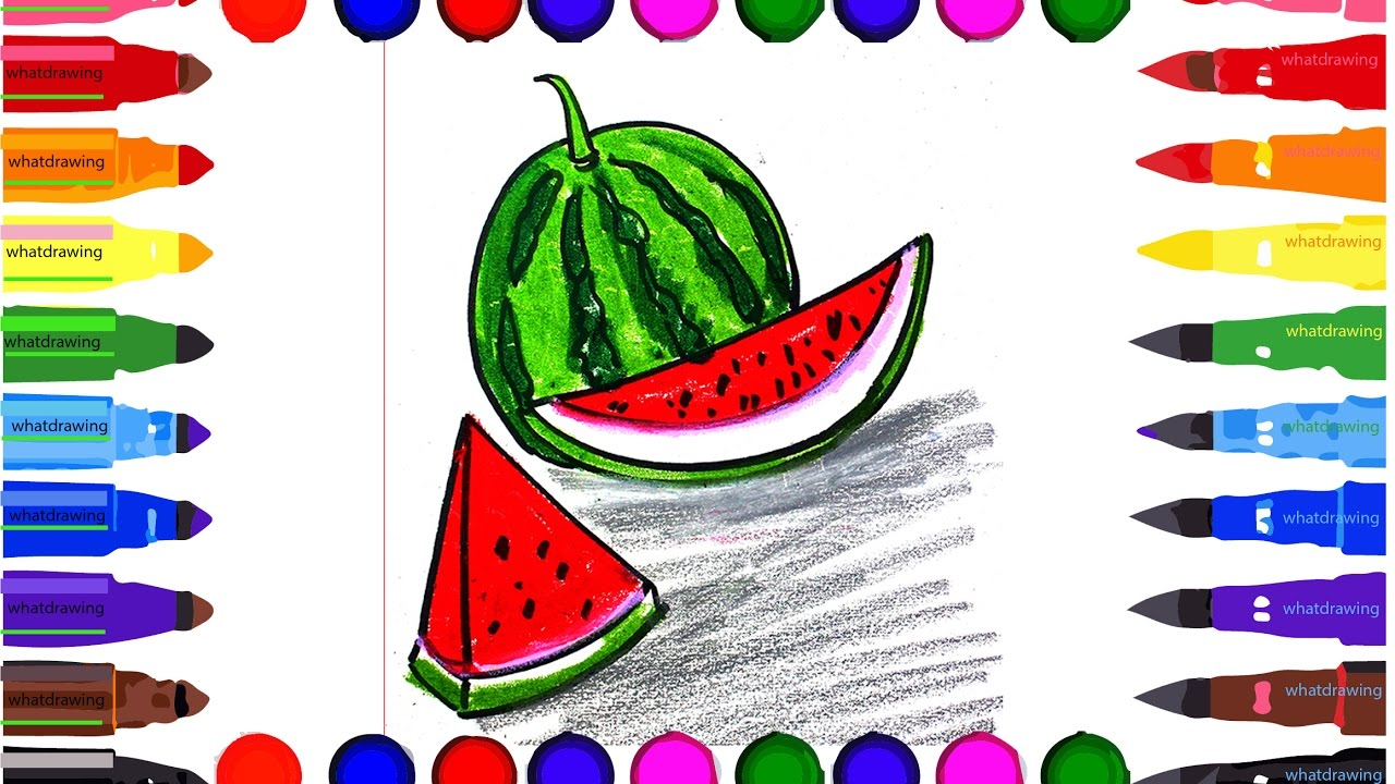 Draw Color How To Draw Watermelon Slice Cute Step By Step Easy