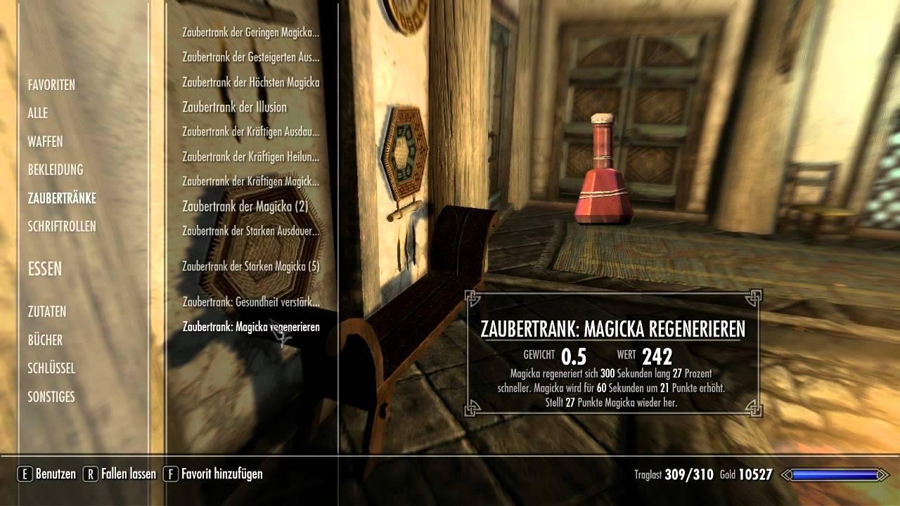 The Elder Scrolls 5: Skyrim Kurztipps | Rezepte für Tränke - YouTube