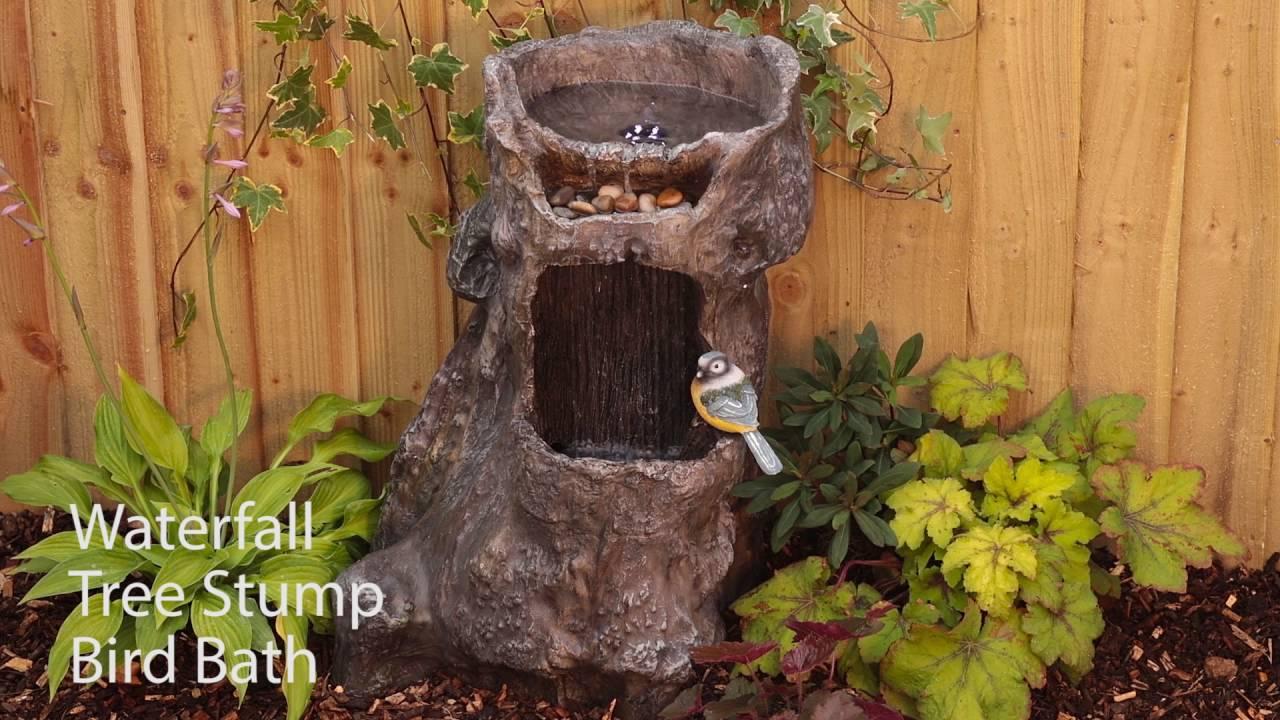 Liberty Waterfall Tree Stump Bird Bath Youtube