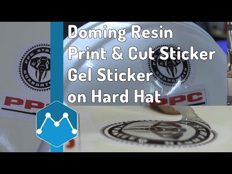 Clear Doming Resin Applied on Contour Cut Sticker as Gel Sticker for PPC Hard Hat