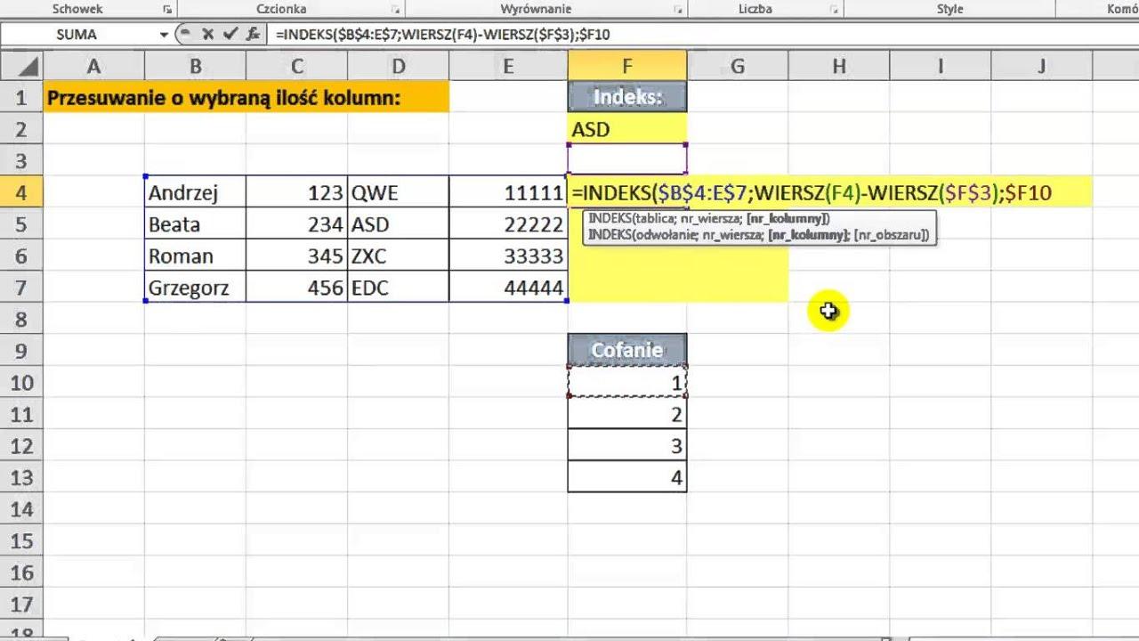 Excel Pobieranie Wartości Z Komórki Oddalonej O Wybraną Ilość Kolumn Porada 46