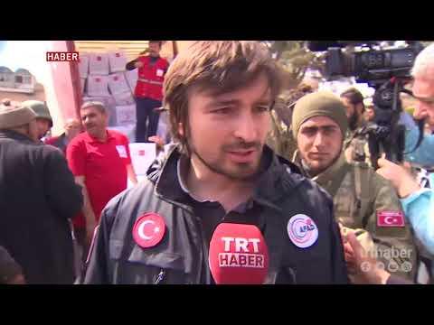 Afrin ilçe merkezinde siviller için yardım faaliyetleri başladı.