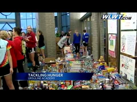 Ursuline Academy collecting food for Spirit Week project