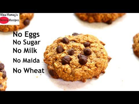 How To Make Gluten Free & Eggless Oatmeal Chocolate Chip Cookies - Healthy Oatmeal Cookie Recipe