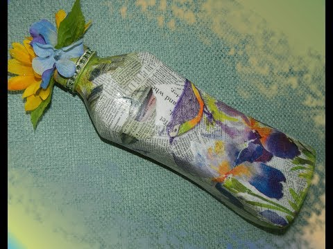 Newspaper Decoupage Bottle -- DIY Mixed Media Glass/Plastic Bottle Art