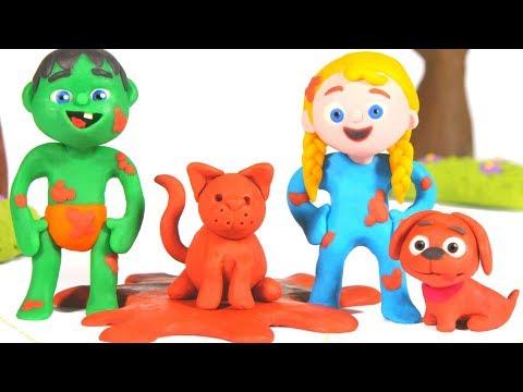 SUPERHERO BABIES PLAYING WITH MUD ❤ SUPERHERO PLAY DOH CARTOONS FOR KIDS