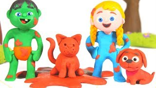 SUPERHERO BABIES PLAYING WITH MUD ❤ SUPERHERO PLAY DOH CARTOONS FOR KIDS