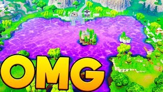 *NEW SLIME LAKE* THE CUBE IS MOVING AND DESTROYING LOOT LAKE - FORTNITE BATTLE ROYALE