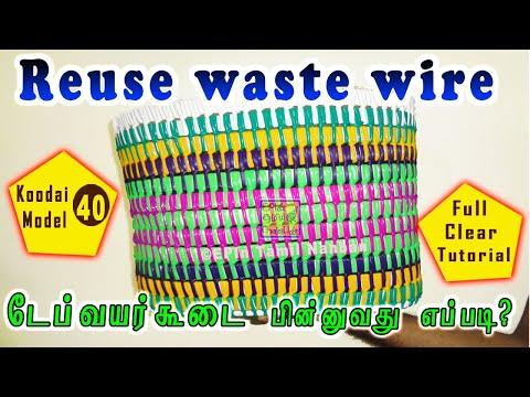 #EPIn 177 - Tape Wire basket Using Waste Wire, Market Tape wire Koodai Beginner Tutorial