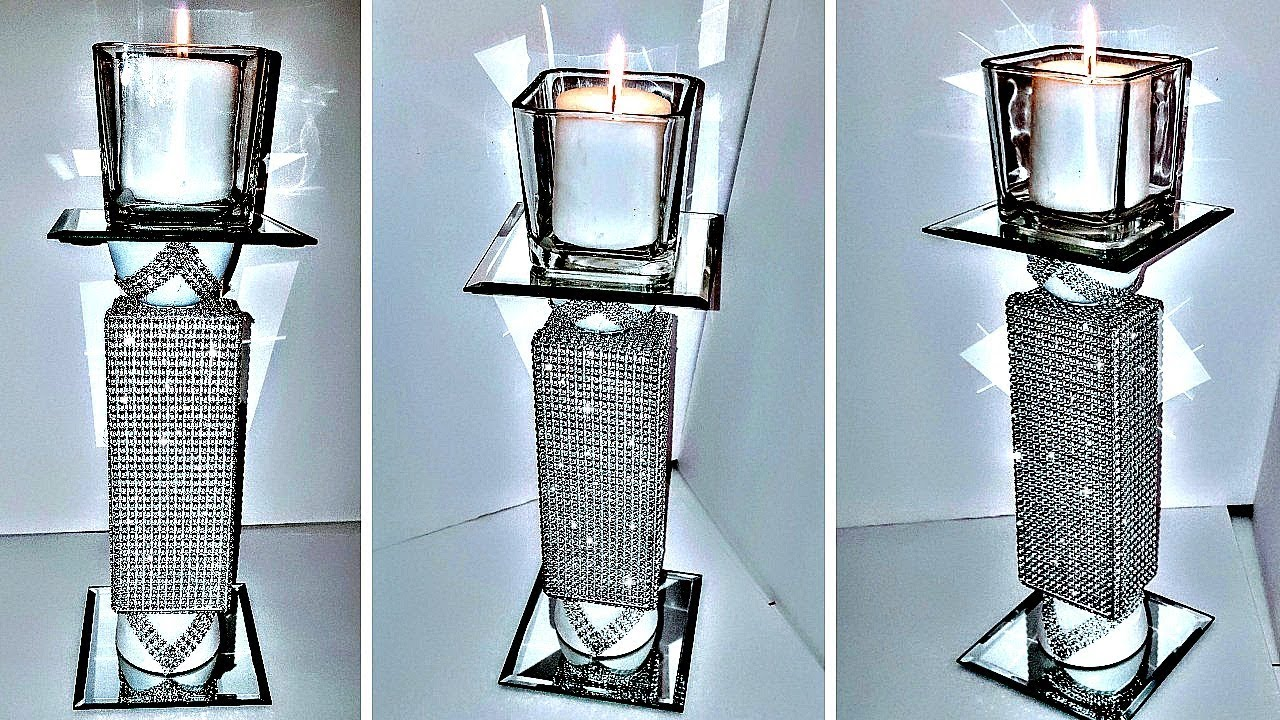 Diy Dollar Tree Glam Bling Tower Candle Holder New Youtube