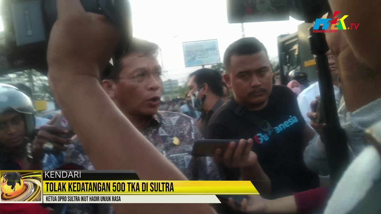 Tolak Kedatangan 500 TKA di Sultra, Ketua DPRD Sultra Ikut Hadir Unjuk Rasa
