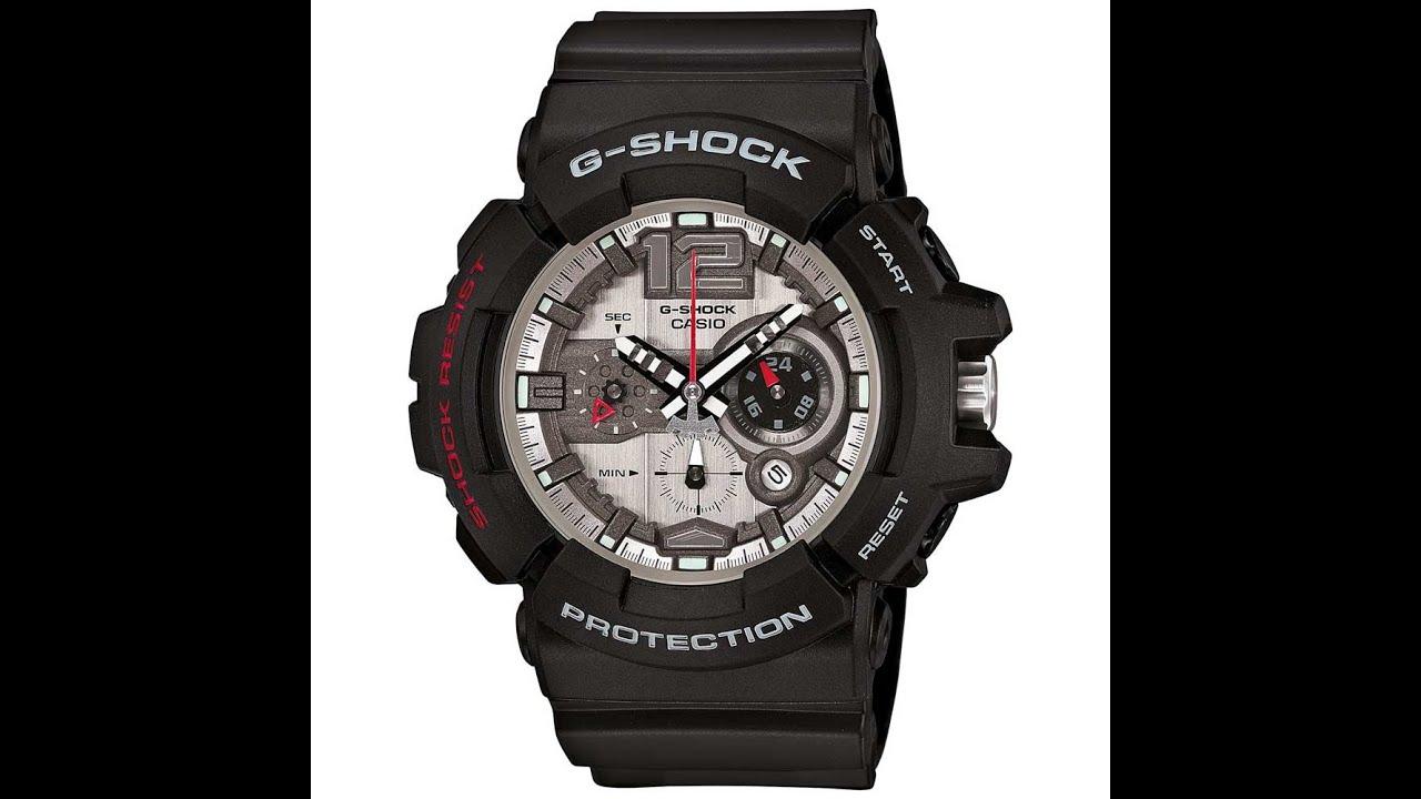 7afdb115d Casio GAC110-1A Men's G-Shock Silver Dial Black Resin Strap Chronograph  Dive Watch Review Video