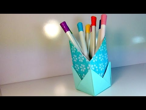 How to Make Origami Stand for Pencils. Crafts out of Paper for the Children. Simply and easily