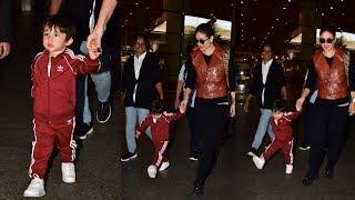 Taimur Ali Khan In A Never Seen Before Avatar With Mom Kareena Kapoor Khan At Mumbai Airport