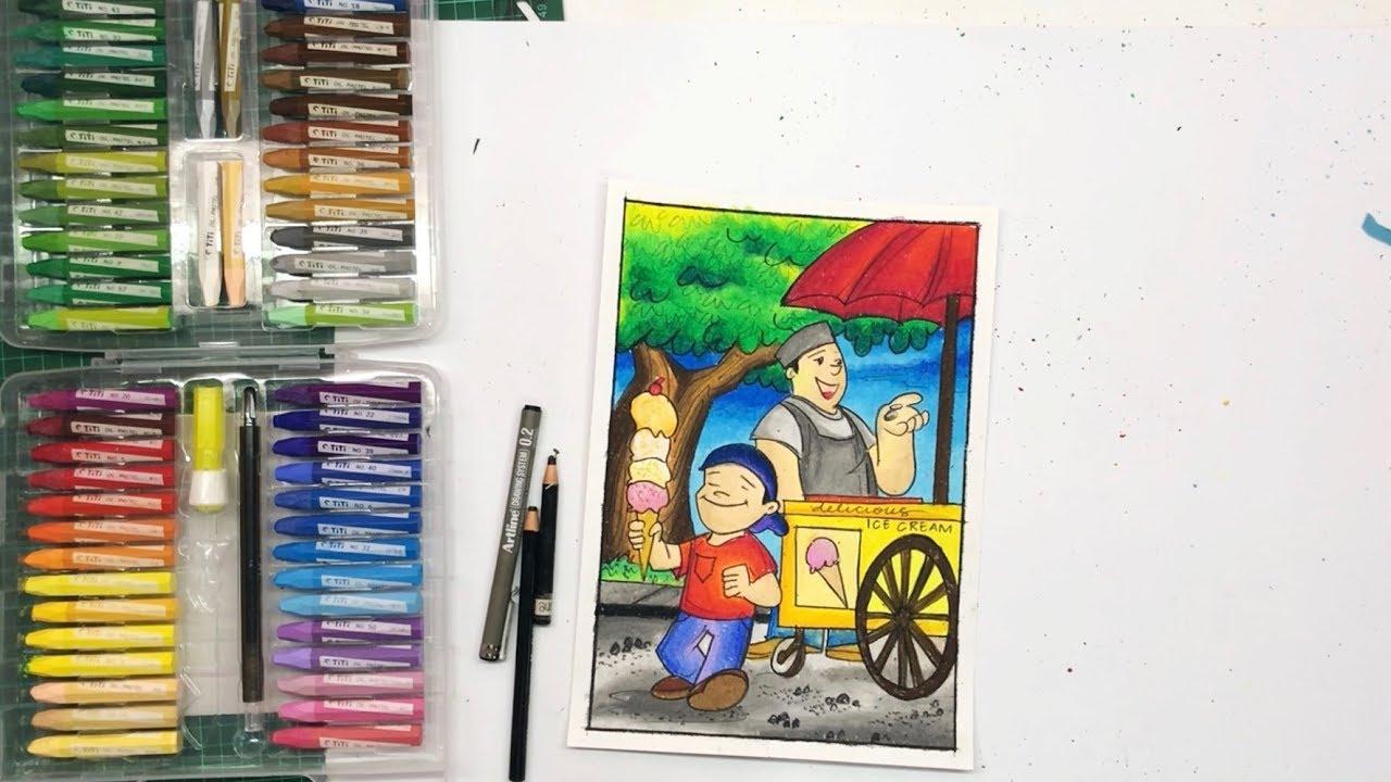 Cara Menggambar Dan Mewarnai Gradasi Dengan Crayon Titi Drawing