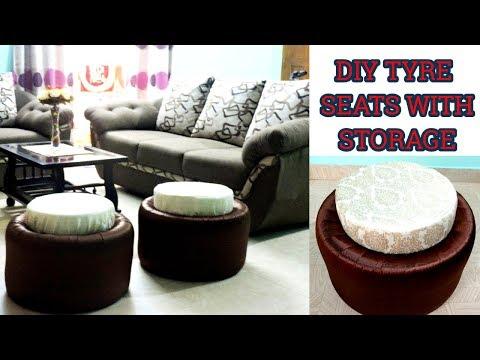 DIY Tyre seats    Recycle Waste Car Tyre Into Seat    DIY Room Decor   