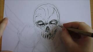 Drawing A Demon Samurai Illustration Concept