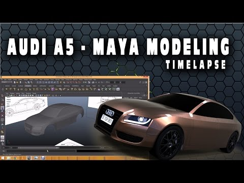 Autodesk Maya 3D Modeling - Audi A5 | TimeLapse | BluePrints