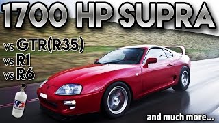 Toyota Supra 1700hp BIG Single Turbo vs GTR r35 vs r1 vs r6(antilag, 2 step,Straight from hell)