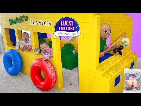 Baldi's Basics in Real Life Giant Lego Fort School Bus Opening Wowwee Lucky Fortune Cookies!