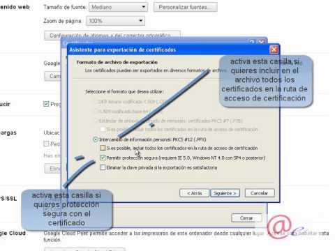 Exportacion de certificado con navegador google chrome