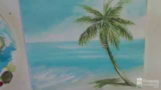 Painting A Beach & Palm Tree Seascape In Acrylic (Time Lapse)