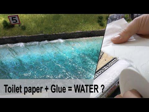Toilet paper + Glue = Realistic Ocean water