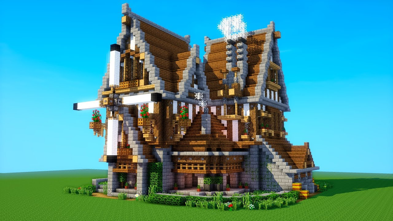 Minecraft Tutorial  How To Build A Big Survival House   Medieval Mansion   2018