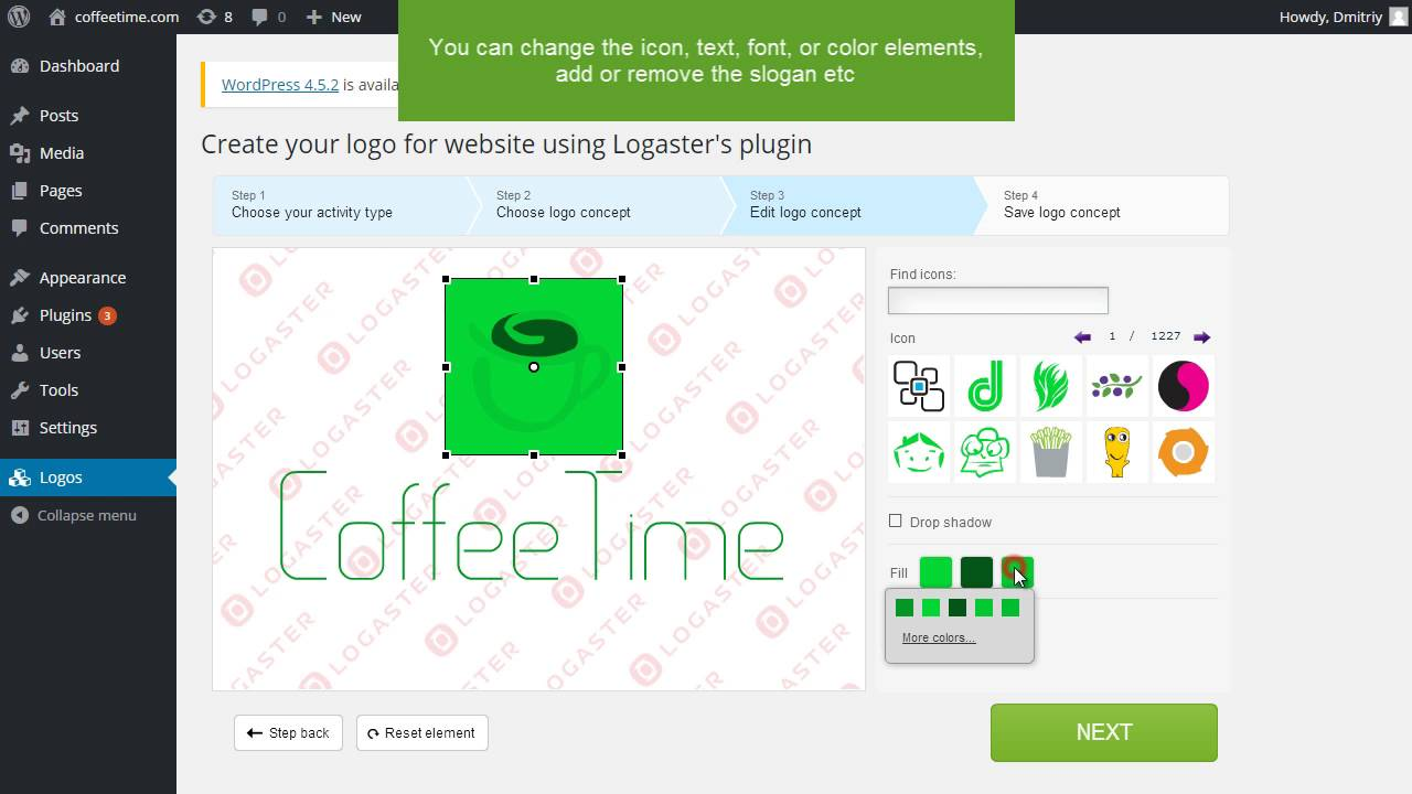 How to create a logo for your website via the Logaster Logo Generator plugin