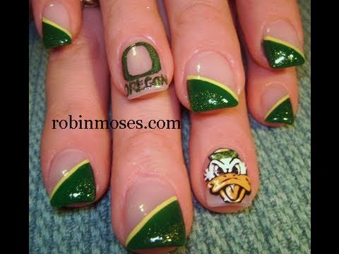 University Of Oregon Nail Art - Donald Duck Nails Design Tutorial - University Of Oregon Nail Art - Donald Duck Nails Design Tutorial