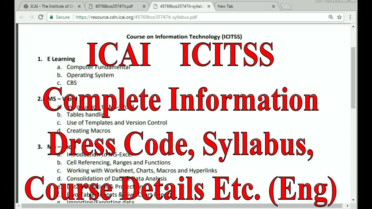 Complete information about ICITSS Training of ICAI || Dress Code, Syllabus,  Passing percentage (Eng)