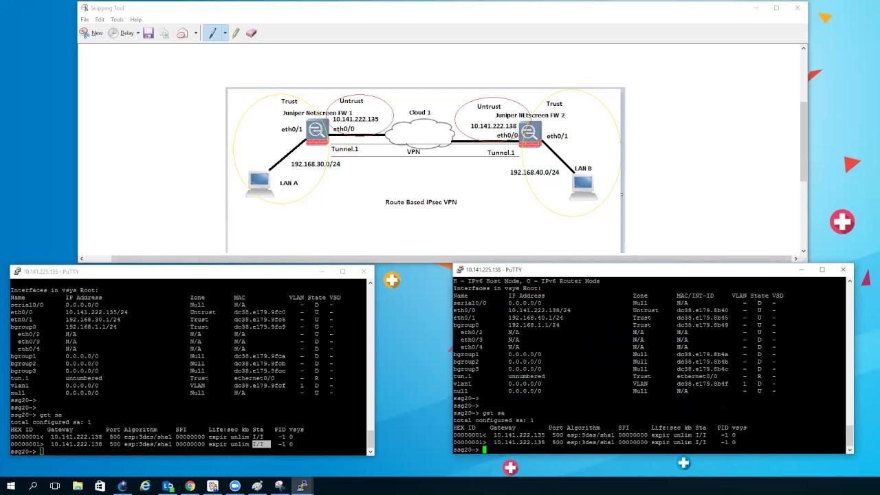 How to configure IPsec VPN (route based) between two Juniper Netscreen  Firewall