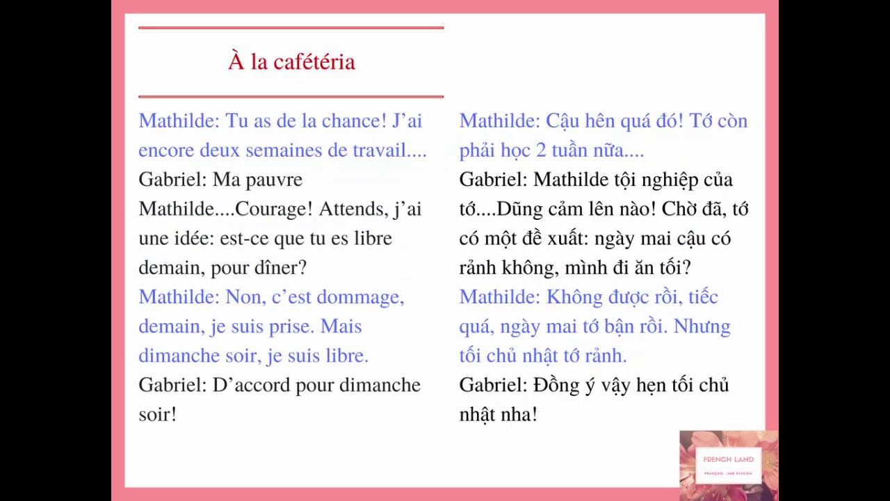 [FRENCH LAND] Luyện nghe tiếng Pháp: À la cafétéria