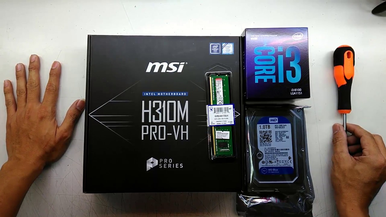 intel Core i3 8100 msi H310M PRO-VH 4GB DDR4 2400 MHZ budget PC 2018