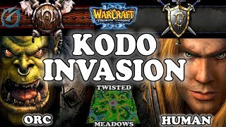 Grubby | Warcraft 3 TFT | 1.29 | ORC v HU on Twisted Meadows - Kodo Invasion