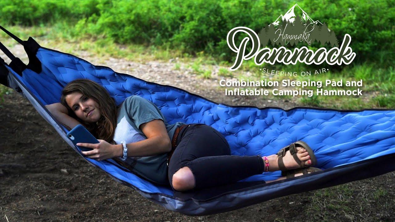 PAMMOCK Inflatable Sleeping Pad/Hammock (Blue) video thumbnail