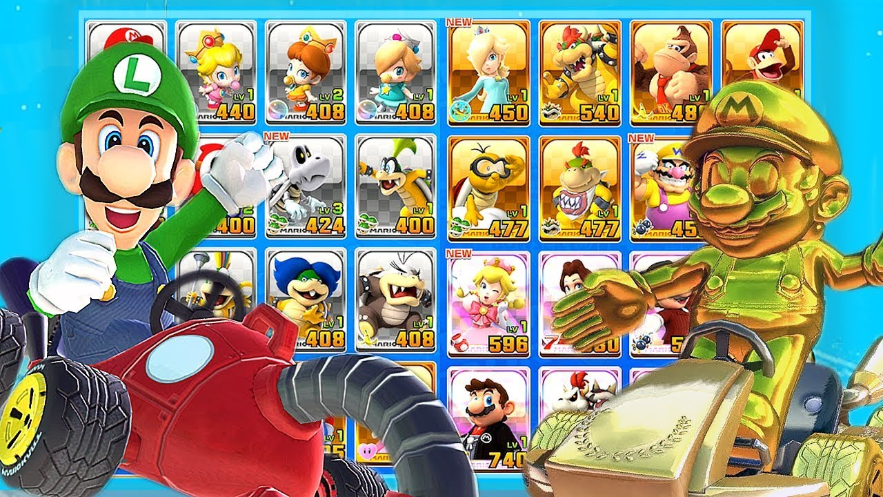 Mario Kart Tour All Characters Unlocked And Golden Mario Luigi King Boo Bowser More Youtube