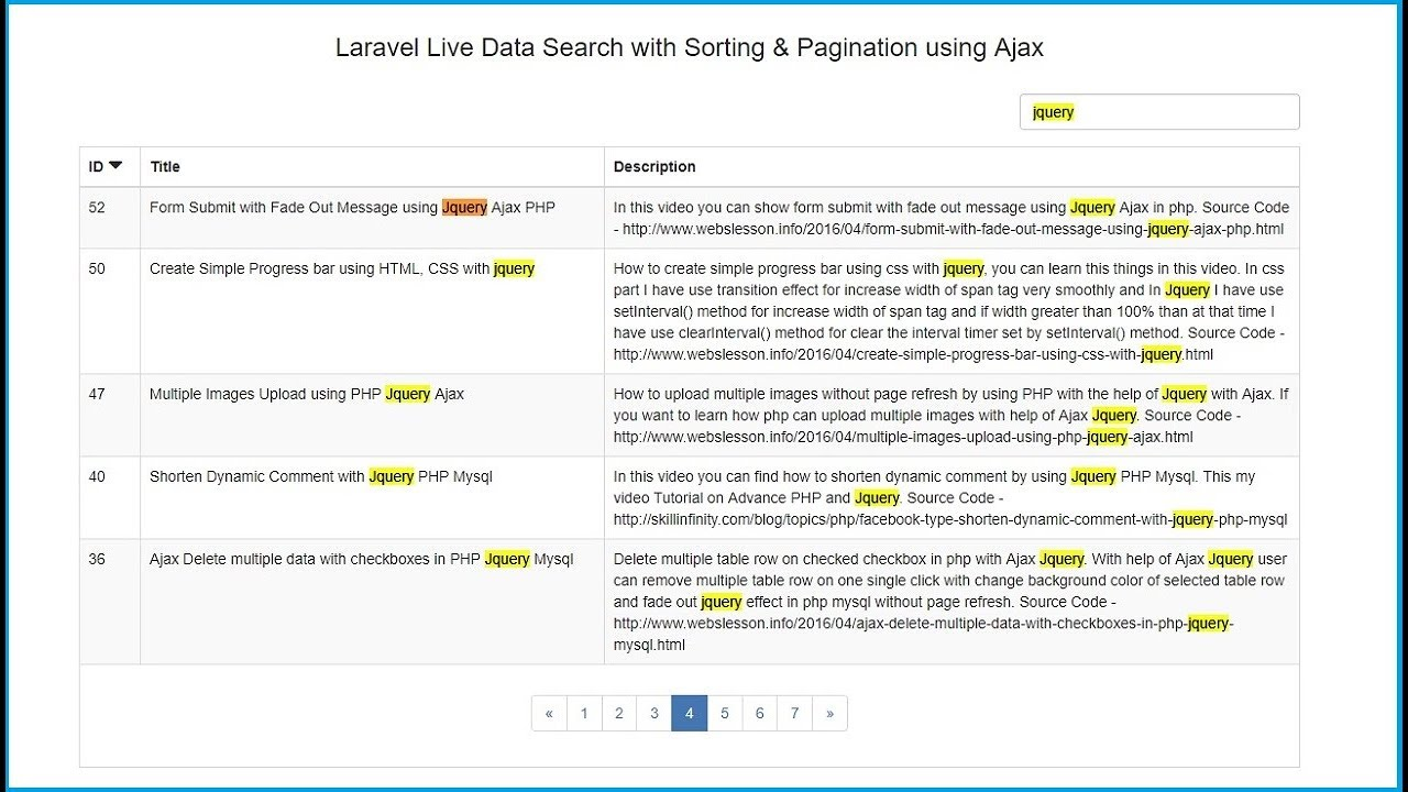 Laravel Searching Column Sorting with Pagination using Ajax | Webslesson