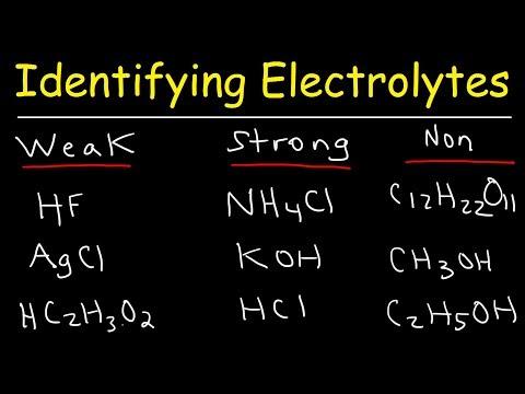 Identifying Strong Electrolytes, Weak Electrolytes, And Nonelectrolytes - Chemistry Examples
