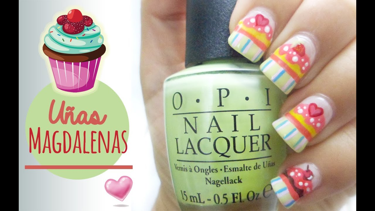 Nail Art - Diseño de uñas Cute Magdalenas - YouTube