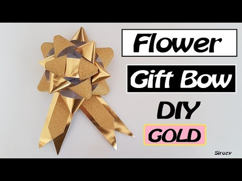 How To Make GOLDEN FLOWER GIFT BOW | Gold Paper Ribbon DIY